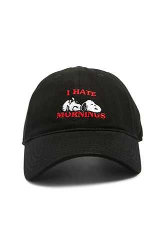 Hate Mornings & Snoopy Graphic Baseball Cap at Forever 21  Black/red - GOOFASH