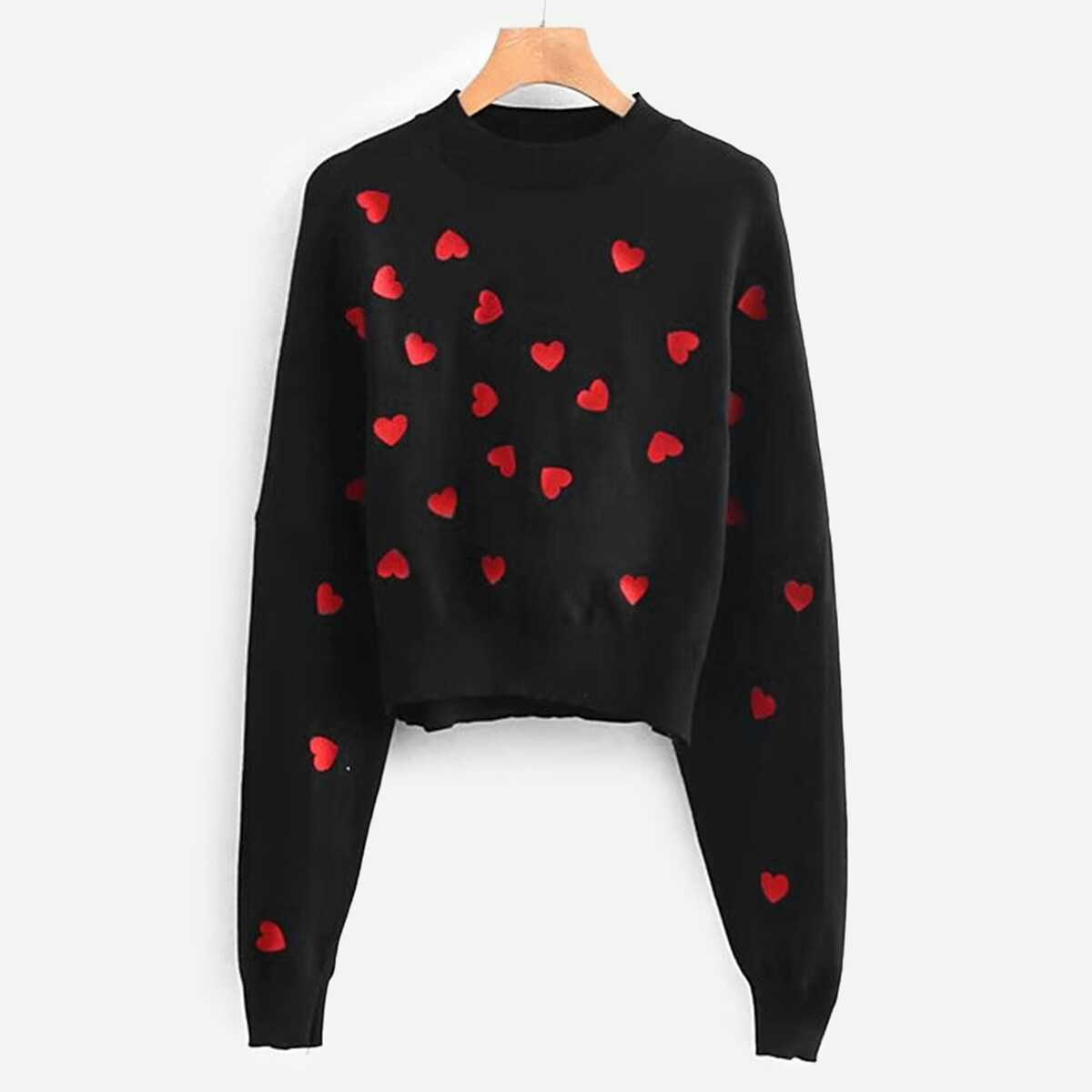 Heart Embroidered Batwing Sleeve Jumper - Shein - GOOFASH