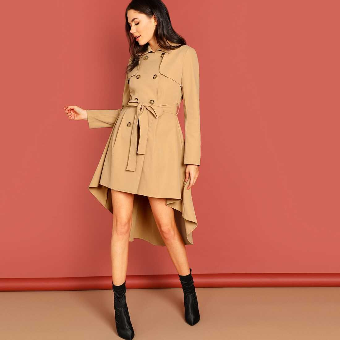 High Low Flared Hem Belted Trench Coat - Shein - GOOFASH