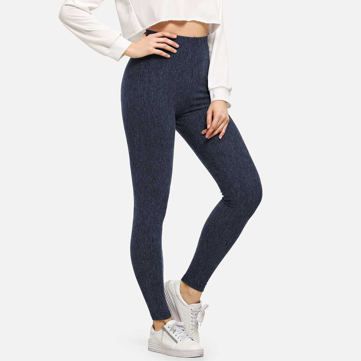 High Waist Heathered Knit Leggings - Shein - GOOFASH