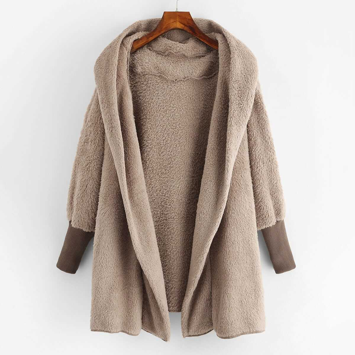 Hooded Open Front Fluffy Teddy Coat - Shein - GOOFASH