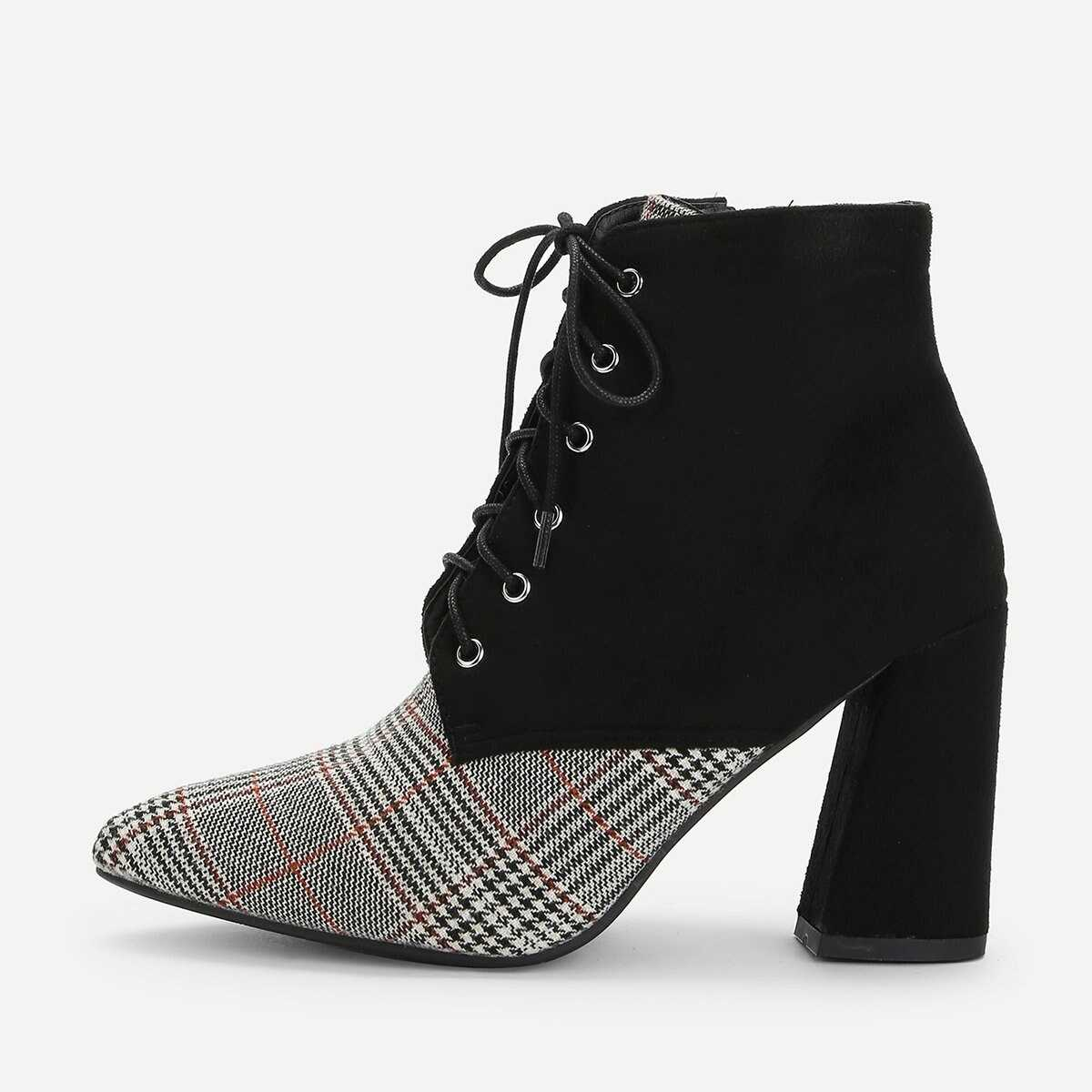 Houndstooth Pattern Lace-up Boots - Shein - GOOFASH