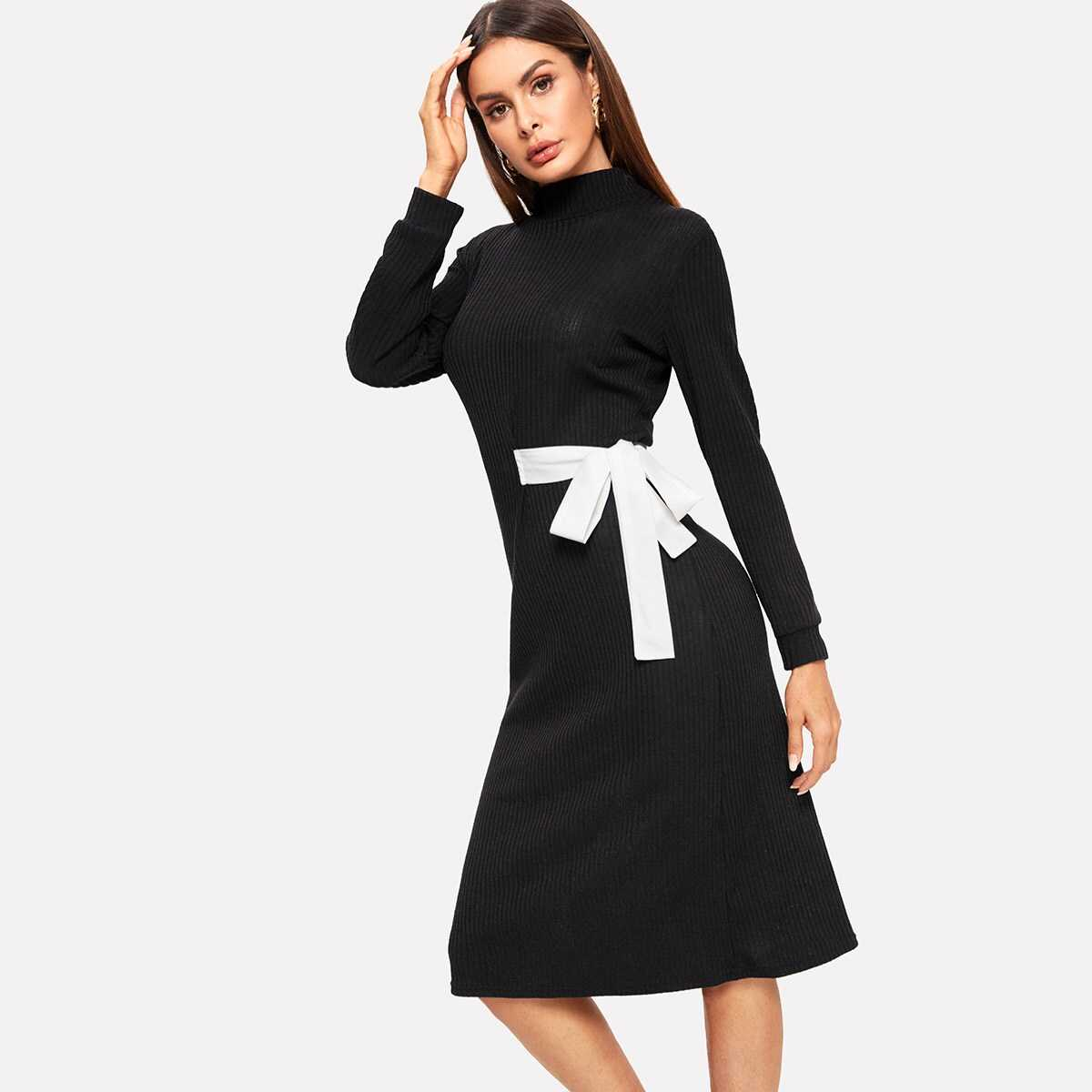 Knot Front Ribbed Dress - Shein - GOOFASH