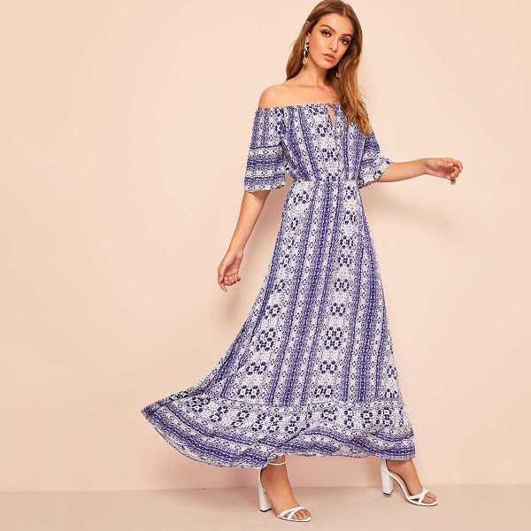 Knotted Keyhole Off Shoulder Tribal Print Dress - Shein - GOOFASH