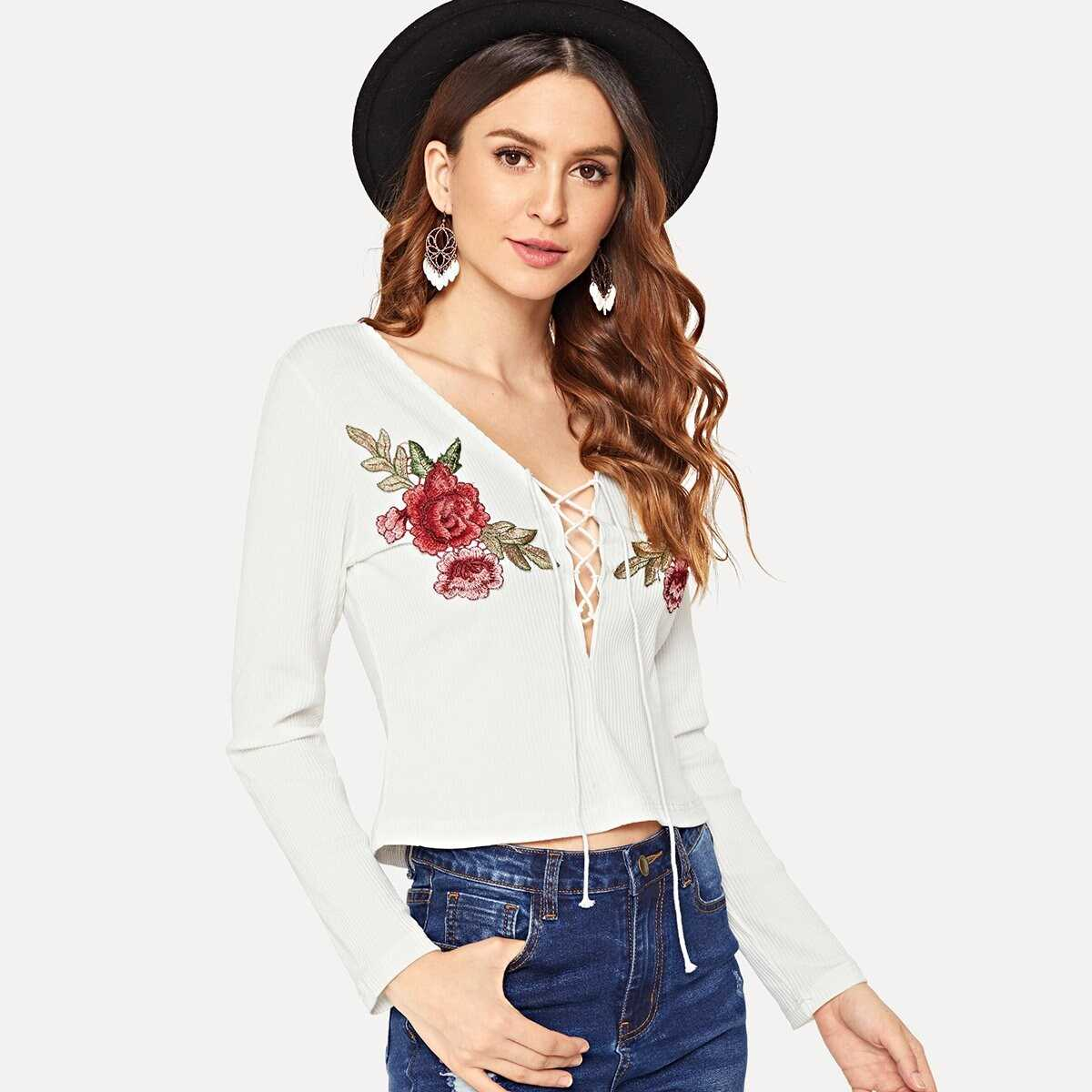 Lace Up Embroidered Tee - Shein - GOOFASH