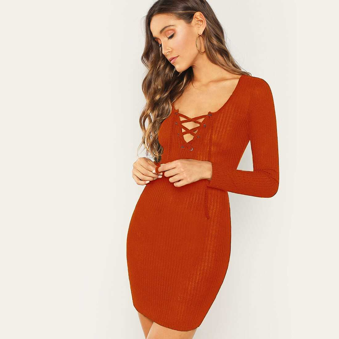 Lace Up Ribbed Knit Bodycon Dress - Shein - GOOFASH