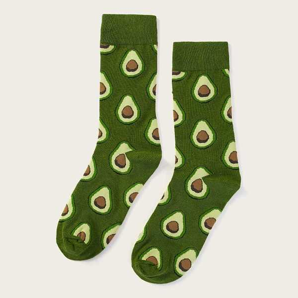 Men Avocado Pattern Calf Length Socks - Shein - GOOFASH