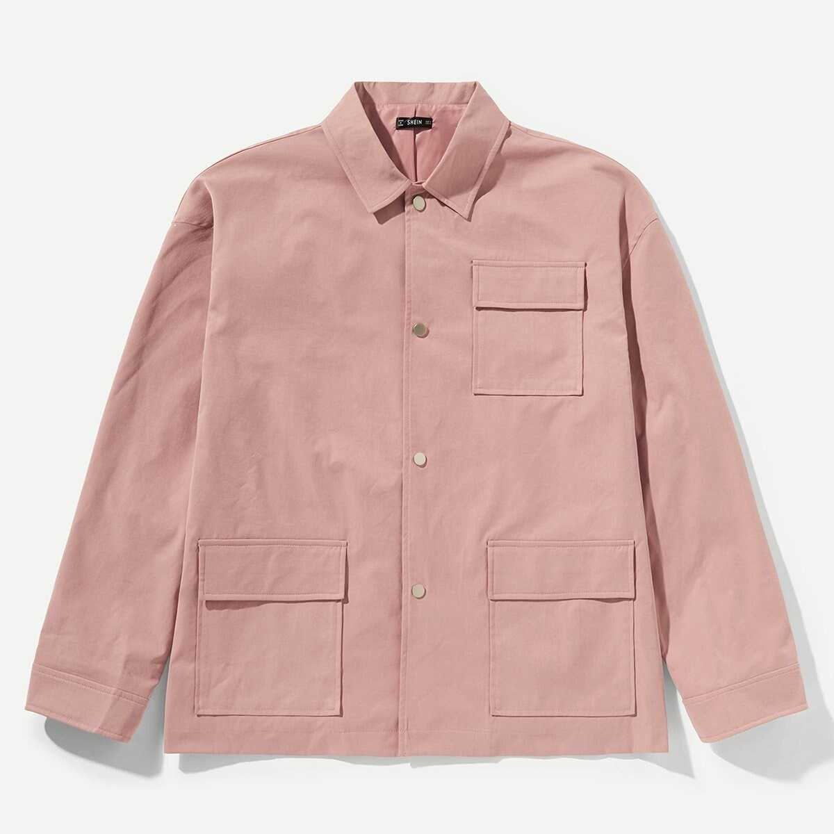 Men Button Up Pocket Patched Coat - Shein - GOOFASH