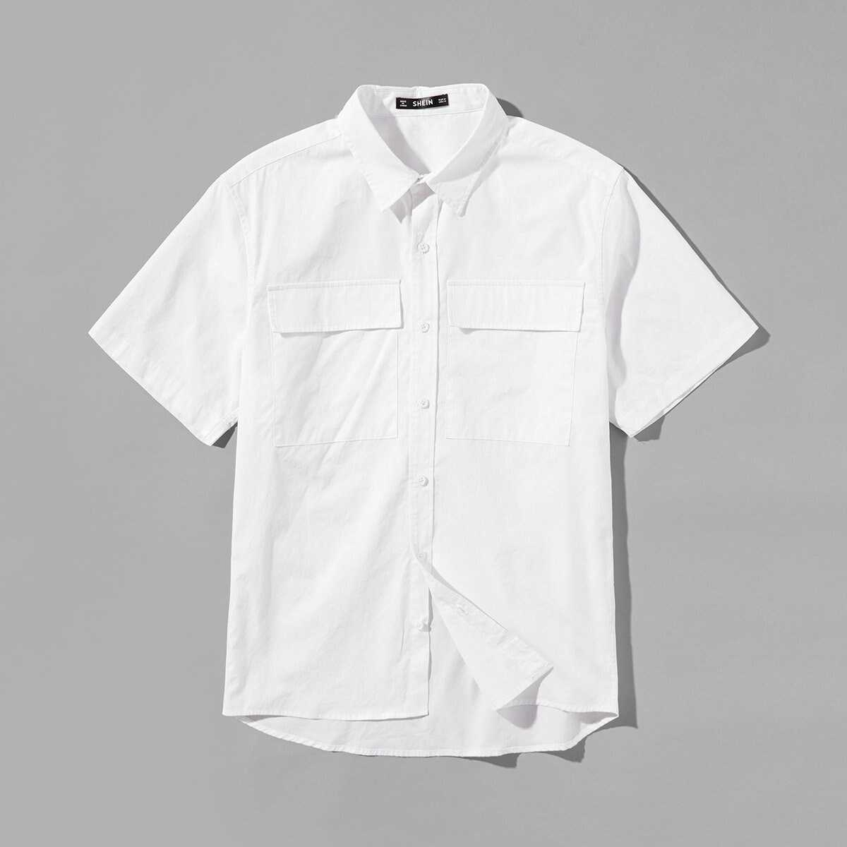 Men Double Pocket Patched Front Shirt - Shein - GOOFASH