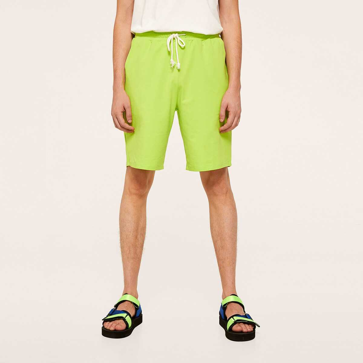 Men Drawstring Waist Neon Lime Shorts - Shein - GOOFASH