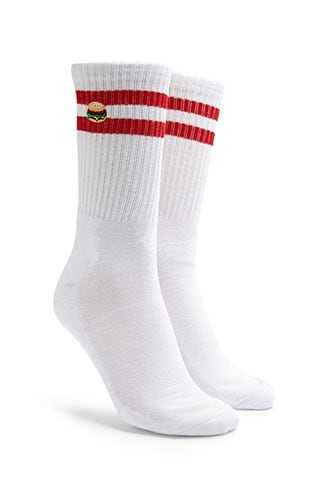 Men Embroidered Hamburger & Striped Crew Socks at Forever 21  White/red - GOOFASH