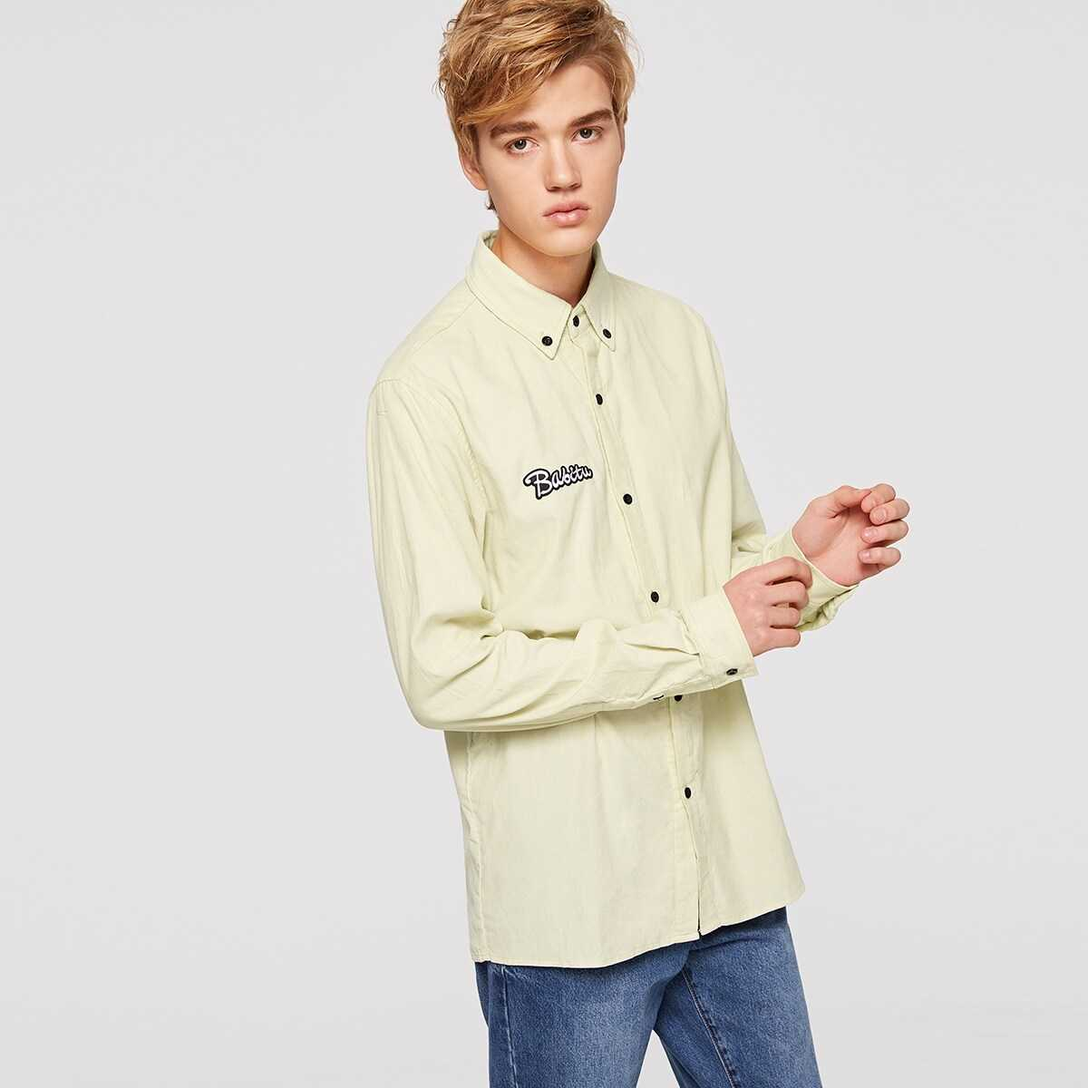 Men Letter Embroidered Patched Solid Shirt - Shein - GOOFASH