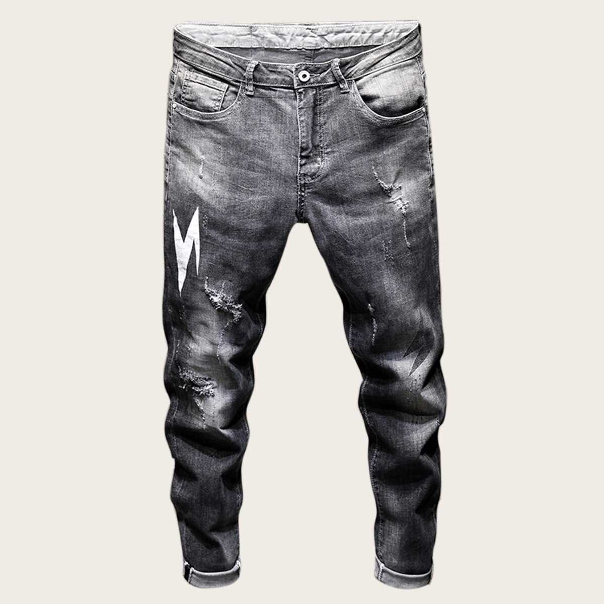 Men Letter Patched Ripped Jeans - Shein - GOOFASH