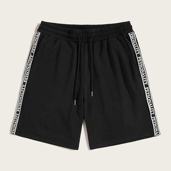 Men Letter Tape Drawstring Waist Shorts - Shein - GOOFASH