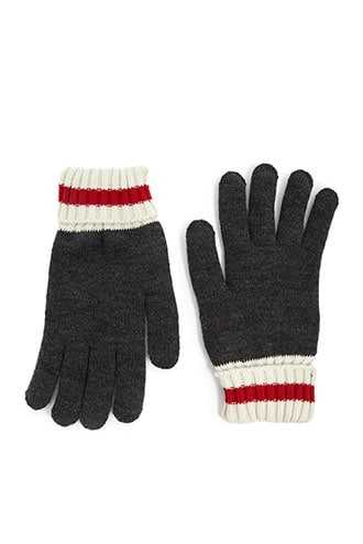 Men Ribbed Colorblock Gloves at Forever 21  Grey/cream - GOOFASH