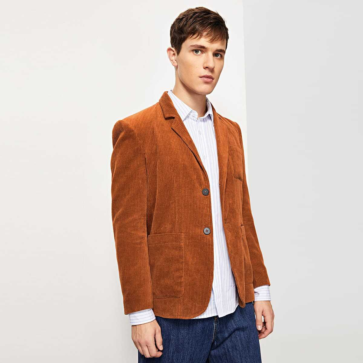 Men Single Breasted Pocket Patched Blazer - Shein - GOOFASH