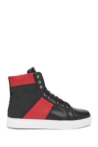 Men Speechless Colorblock High-Top Sneakers at Forever 21  Black/red - GOOFASH