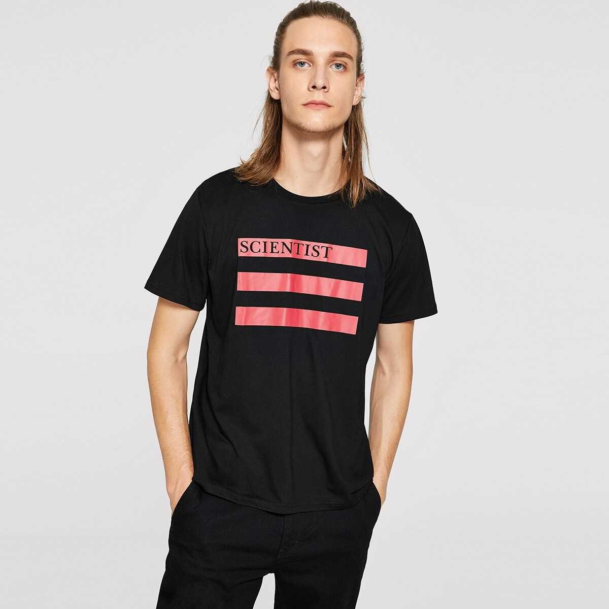 Men Striped and Letter Tee - Shein - GOOFASH