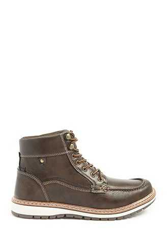 Men Xray Faux Leather Boots at Forever 21  Brown - GOOFASH