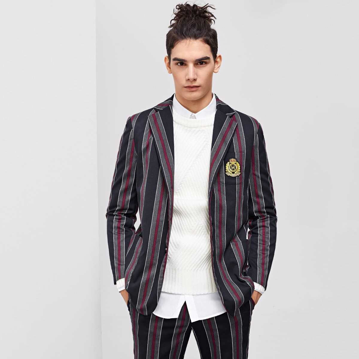 Men single Breasted Patched Detail Striped Blazer - Shein - GOOFASH
