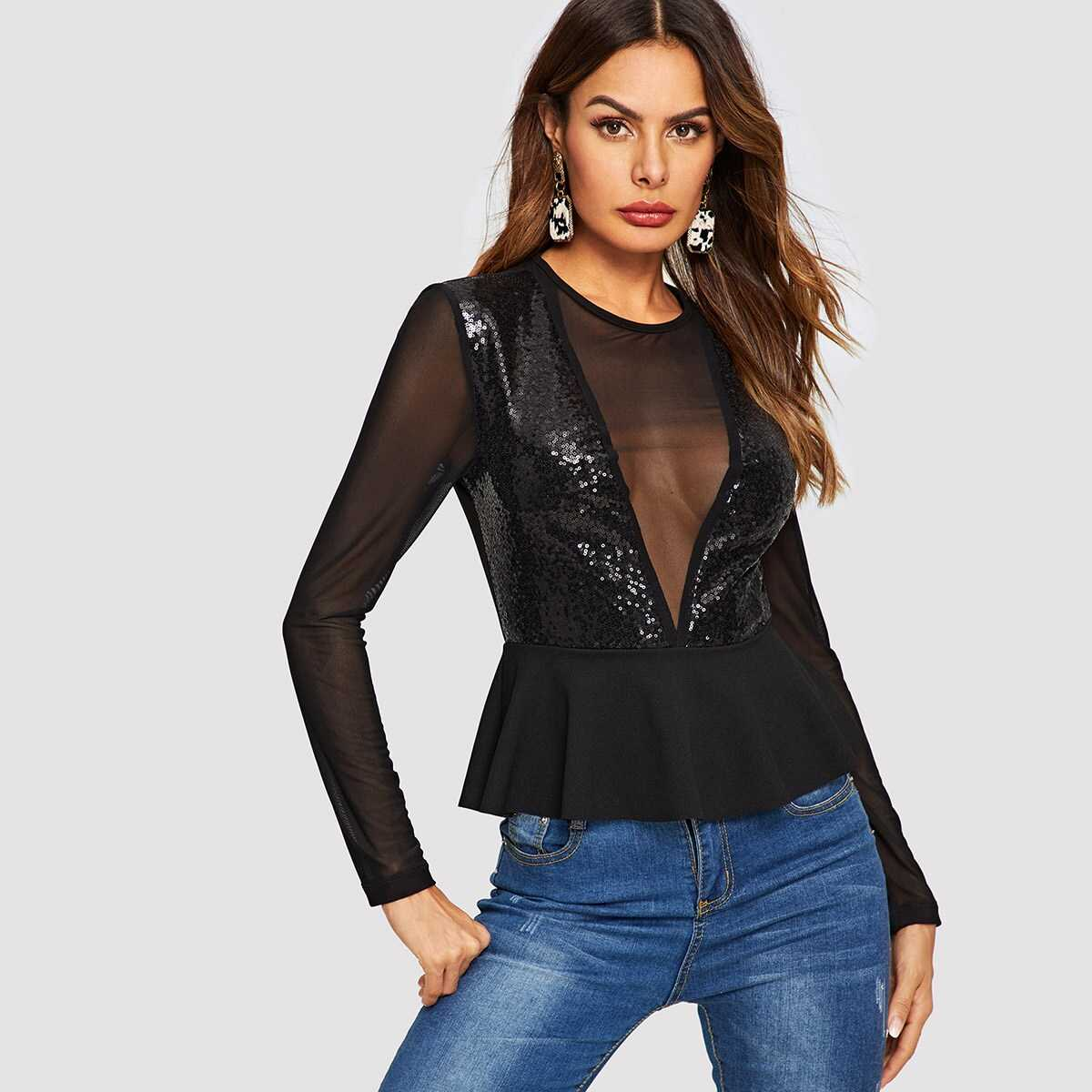 Mesh and Sequin Panel Peplum Top - Shein - GOOFASH