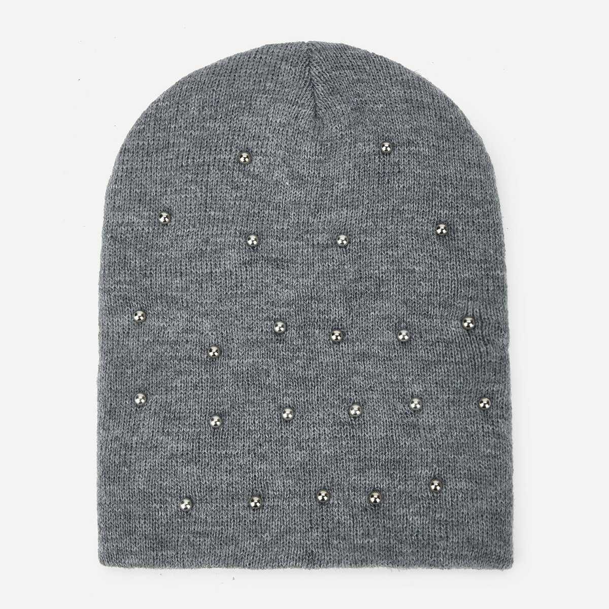 Metal Decorated Beanie Hat - Shein - GOOFASH