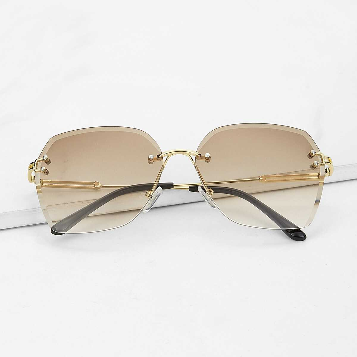Metal Detail Rimless Sunglasses - Shein - GOOFASH