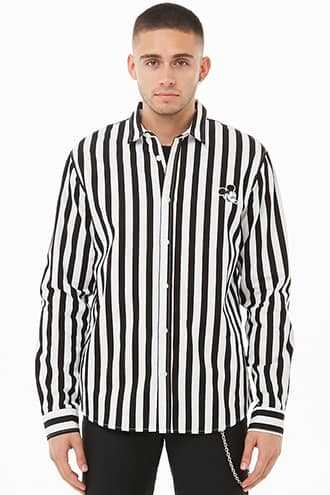 Mickey Mouse Striped Shirt at Forever 21  White/black - GOOFASH