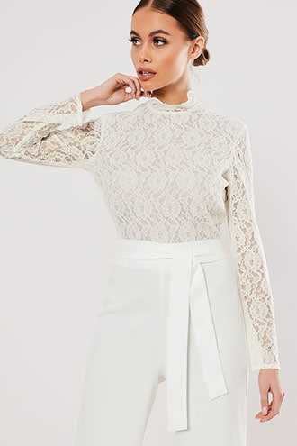 Missguided Lace Combo Jumpsuit at Forever 21  White - GOOFASH