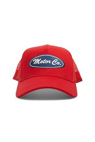 Motor Co. Graphic Trucker Hat at Forever 21  Red/navy - GOOFASH