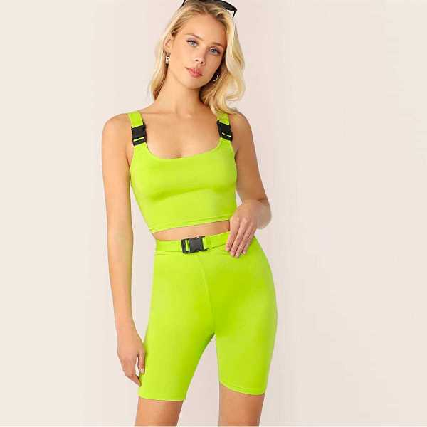 Neon Lime Buckle Strap Tank and Cycling Shorts Set - Shein - GOOFASH