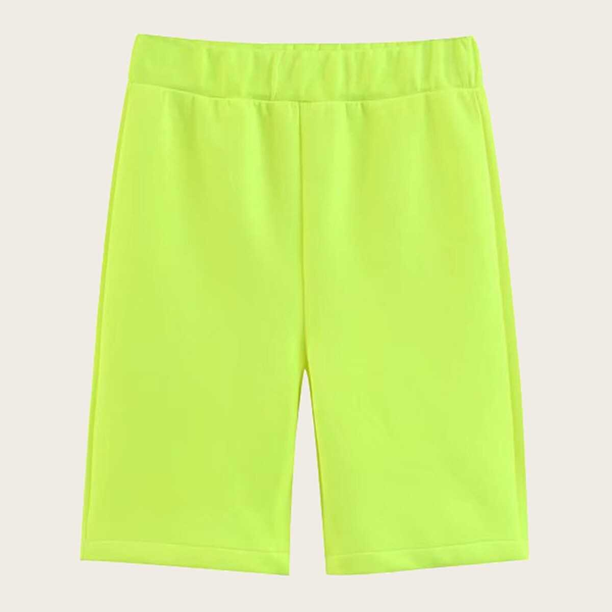Neon Lime Solid Cycling Shorts - Shein - GOOFASH