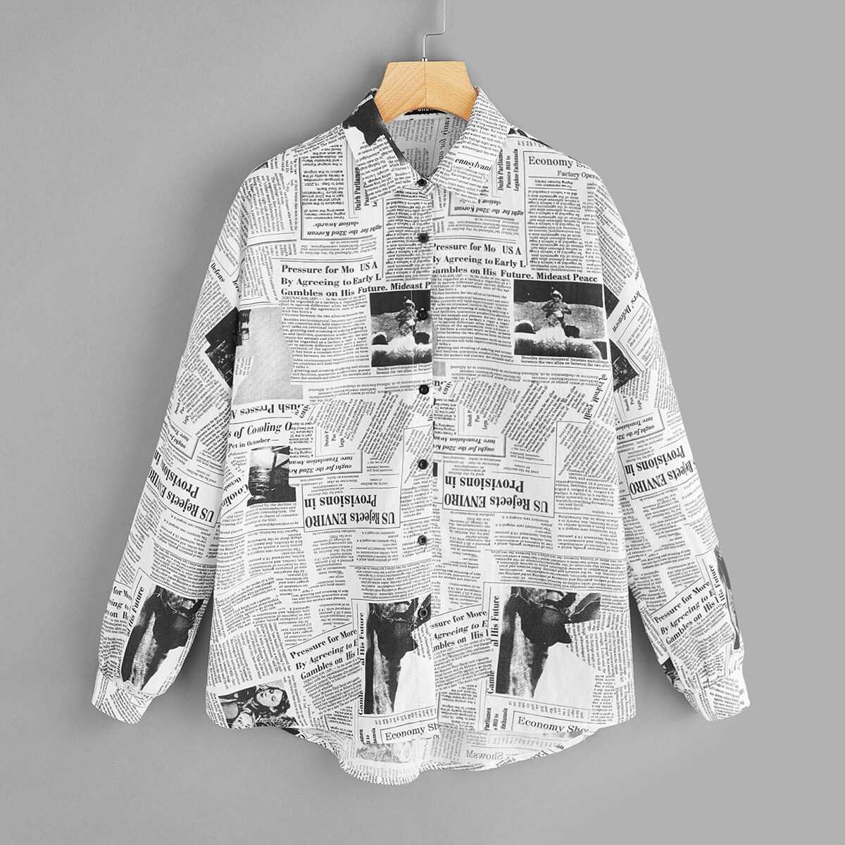 Newspaper Print Curved Hem Buttoned Shirt - Shein - GOOFASH