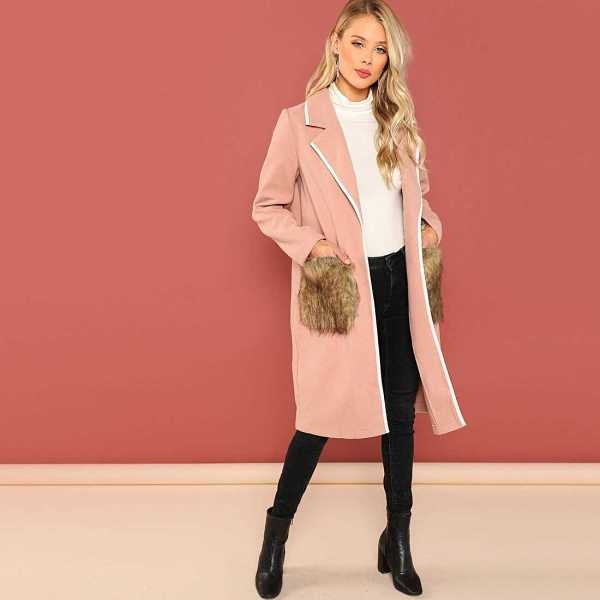 Notch Collar Faux Fur Pocket Coat - Shein - GOOFASH