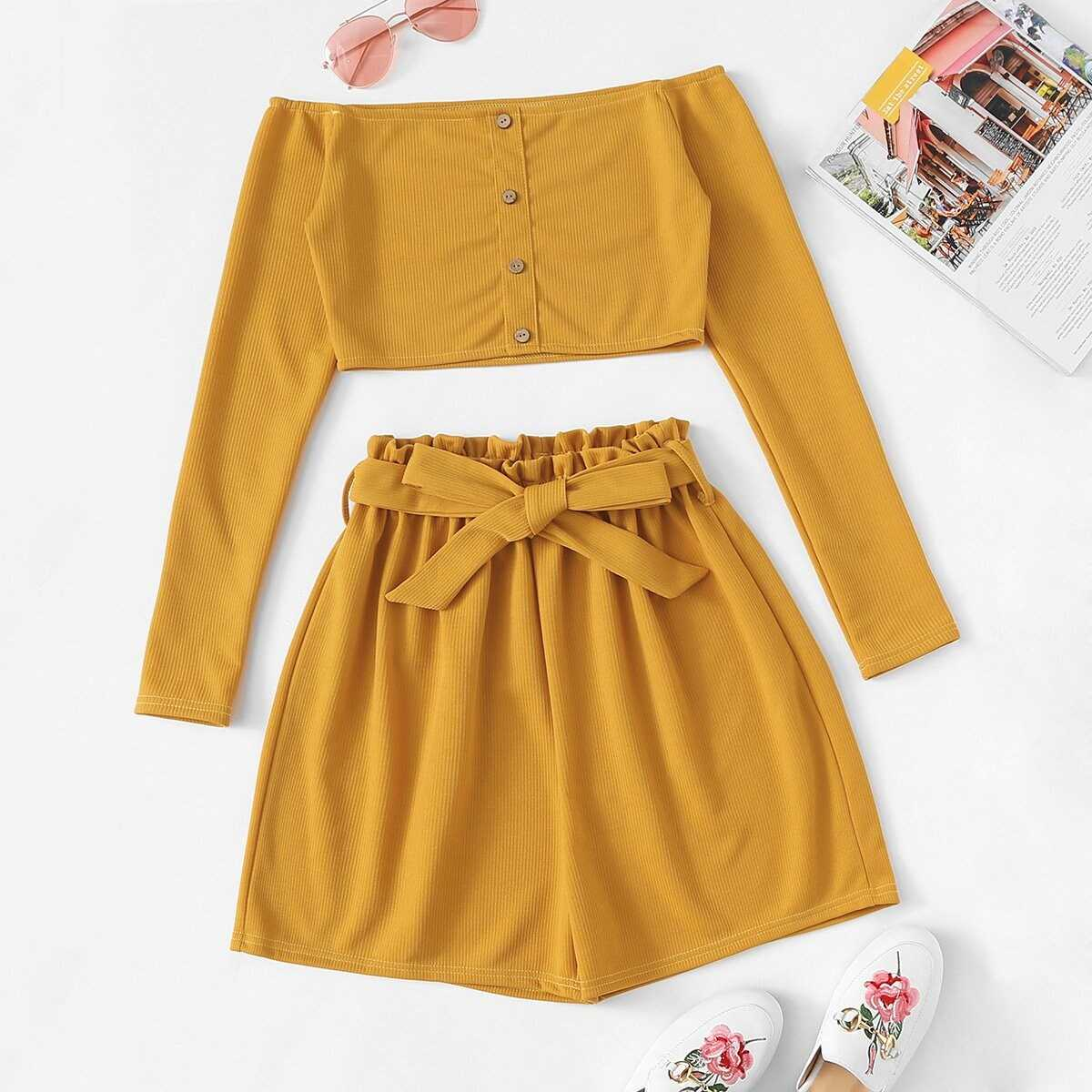 Off The Shoulder Button Frill Belted Two-piece Outfit - Shein - GOOFASH