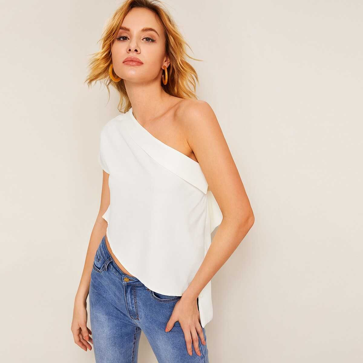 One Shoulder Ruffle Trim Blouse - Shein - GOOFASH
