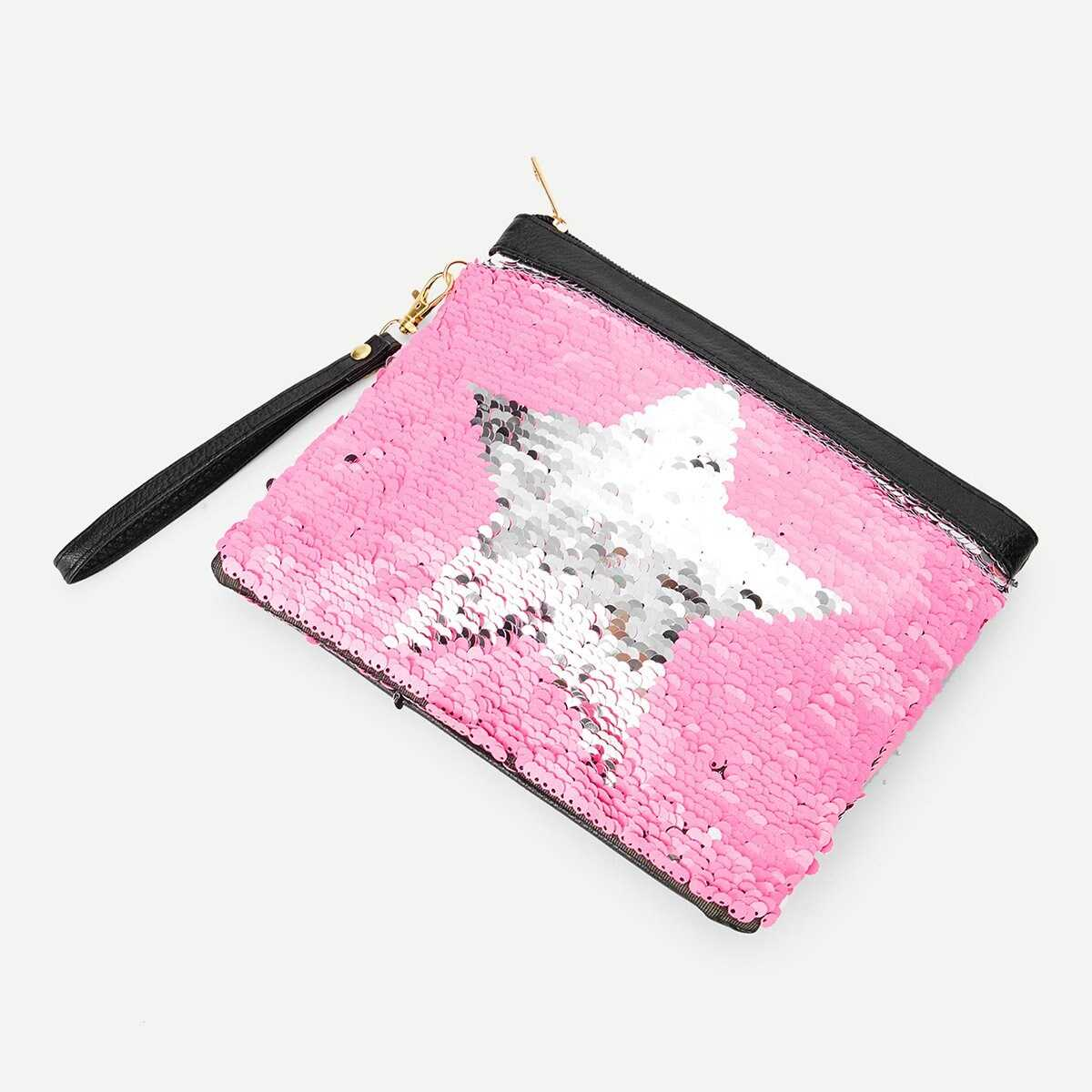 One Side Sequin Cover Reversible Makeup Bag - Shein - GOOFASH