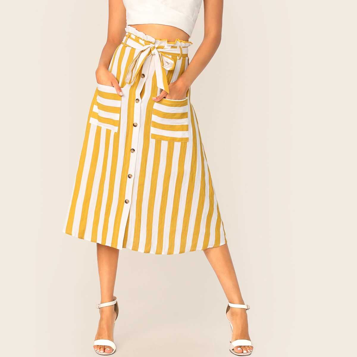 Paperbag Waist Button Front Patch Pocket Belted Skirt - Shein - GOOFASH