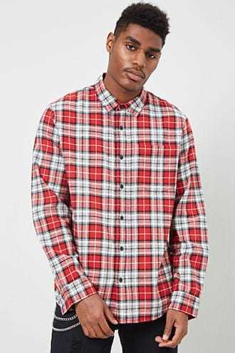 Plaid Flannel Shirt at Forever 21  Red/black - GOOFASH