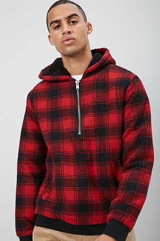 Plaid Half-Zip Pullover at Forever 21  Red/black - GOOFASH