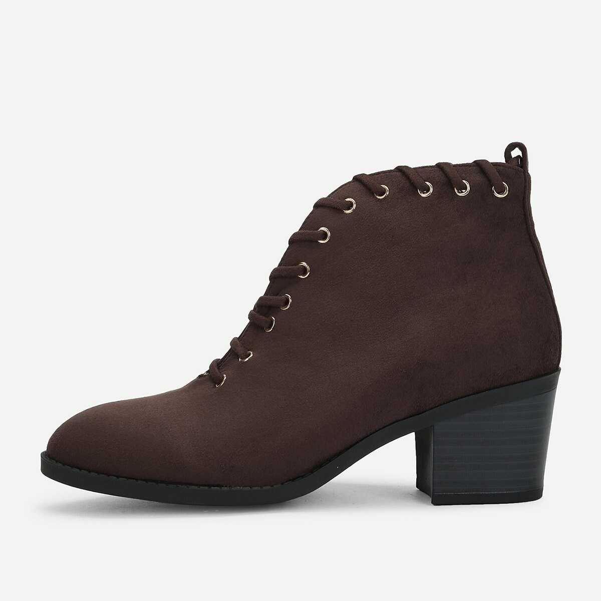 Plain Lace-up Ankle Boots - Shein - GOOFASH