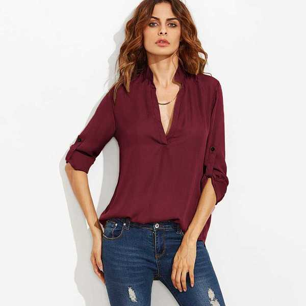 Plunging Neck Rolled-Up Sleeve Blouse - Shein - GOOFASH