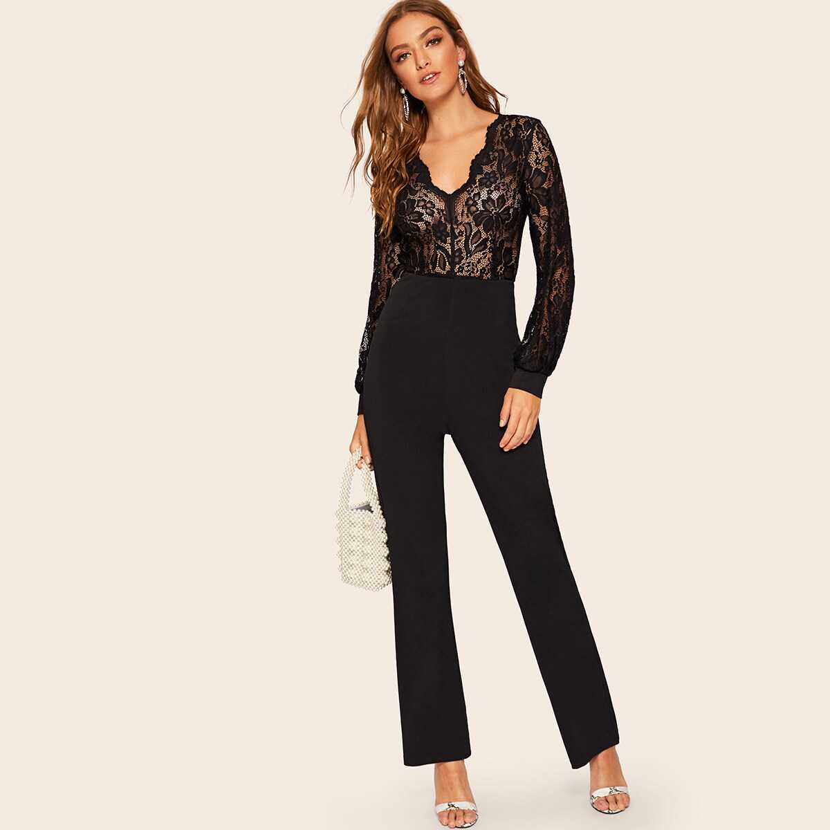 Plunging Neck Sheer Lace Bodice Solid Jumpsuit - Shein - GOOFASH