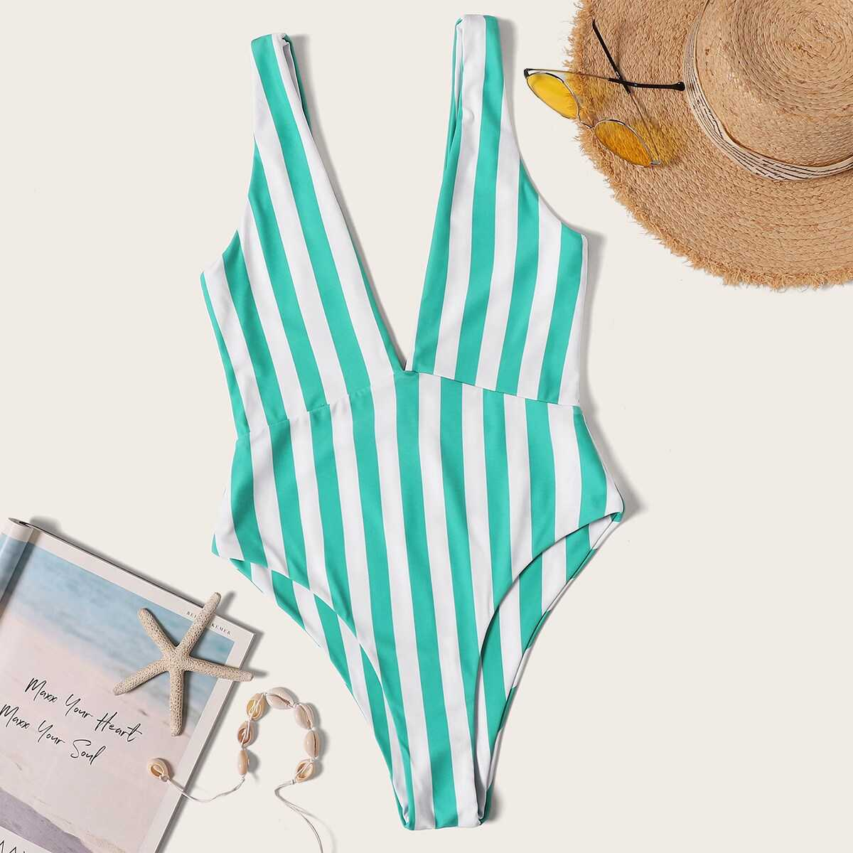 Plunging Neck Striped One Piece Swimsuit - Shein - GOOFASH