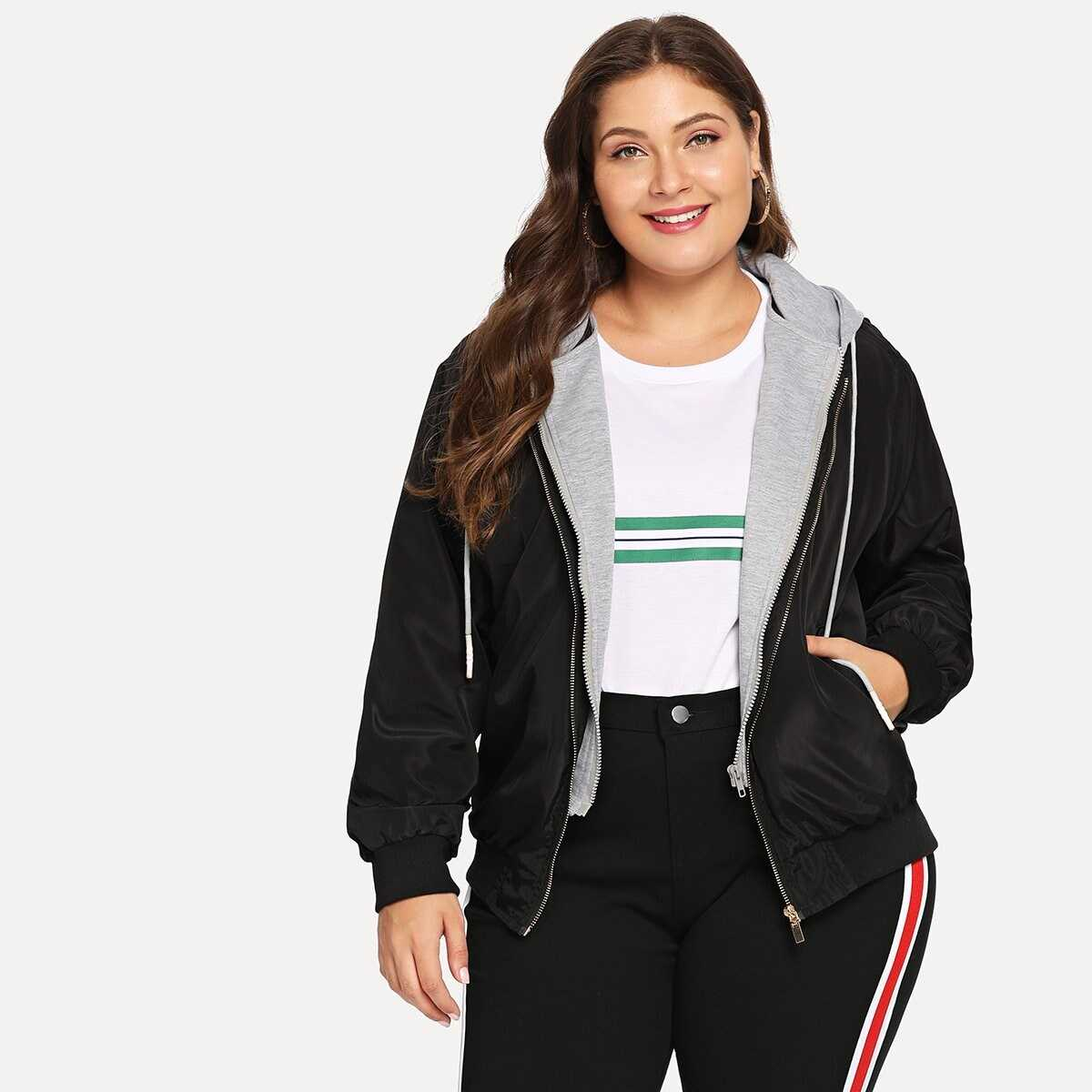 Plus 2 In 1 Hooded Jacket - Shein - GOOFASH