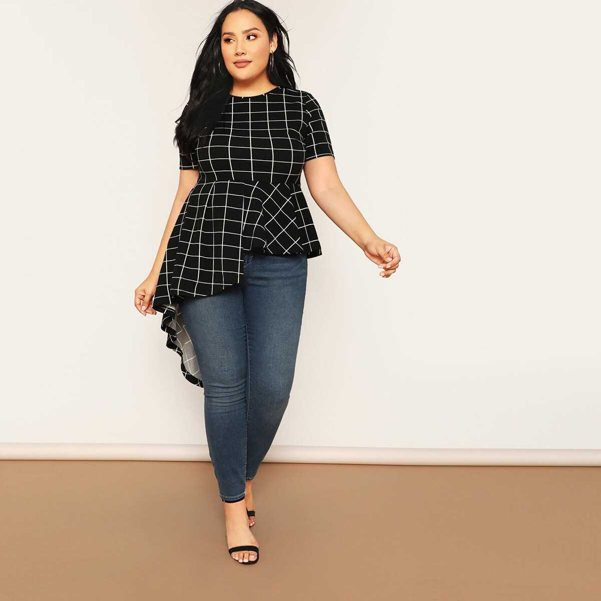 Plus Asymmetrical Hem Grid Blouse - Shein - GOOFASH