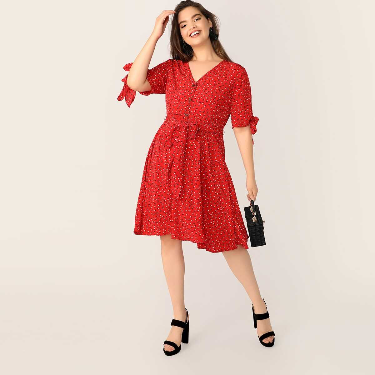 Plus Button Front Knot Cuff Belted Flare Dress - Shein - GOOFASH