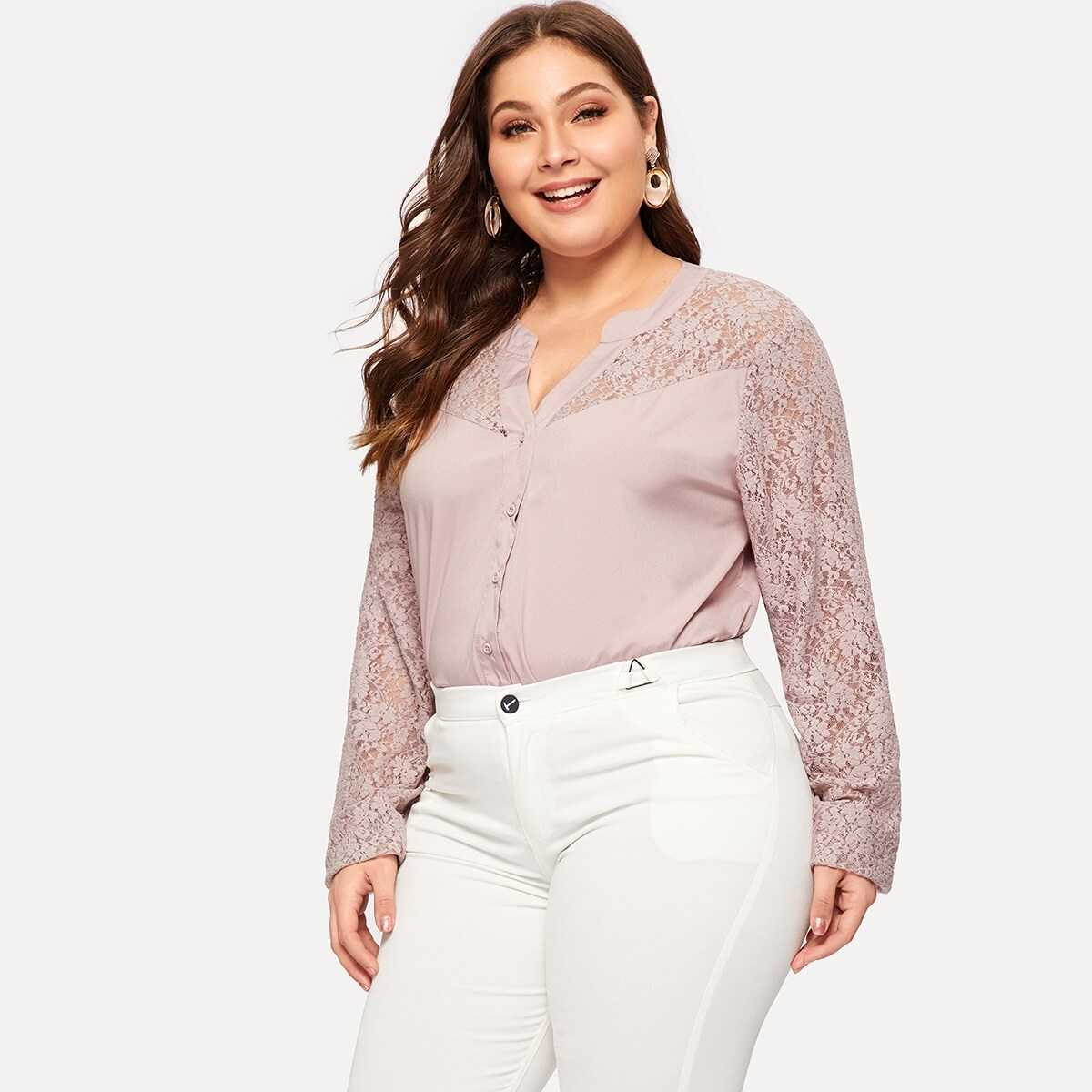 Plus Contrast Lace Single-breasted Blouse - Shein - GOOFASH