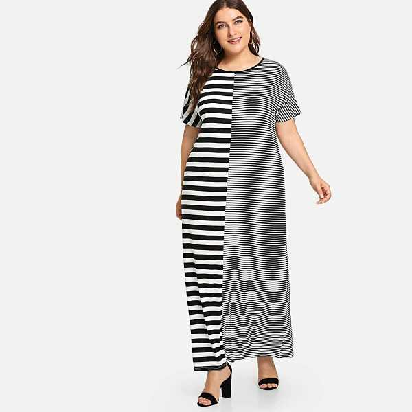 Plus Contrast Stripe Maxi Dress - Shein - GOOFASH