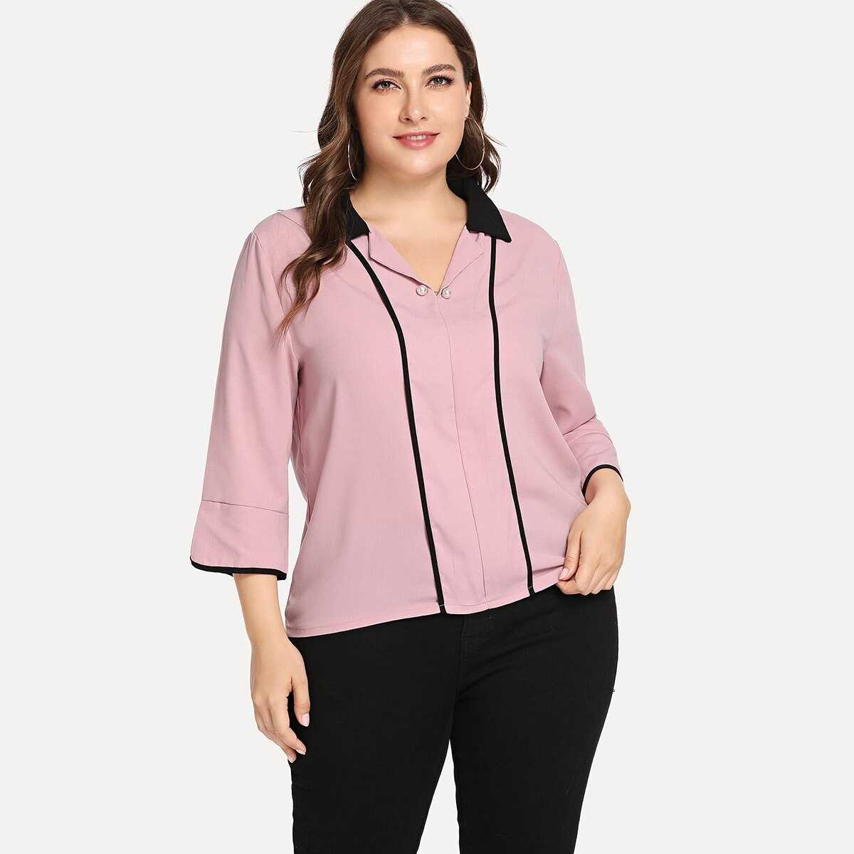 Plus Contrast Tipping Pearl Detail Blouse - Shein - GOOFASH